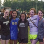 Sam, Maria, Yesika, Elizabeth and Melissa are all smiles after participating in the campus-wide balloon fight.