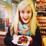 Eileen enjoying the delicacies in Brussels.