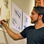 The first undergraduate artist-in-residence at the McColl Center, Evan Danchenka