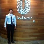 Unilever intern, Austin (center), in Englewood Cliffs, New Jersey