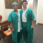 Sanjana and Bailey at Connect 123 Victoria Hospital in South Africa.