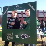 Casey Aldridge and Jefferson Cooper show their school spirit while tailgating before a 49ers game.