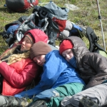 Elizabeth, Kailey and Anna resting up after reaching their re-ration destination