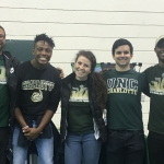 Reggie, Randy, Sarah, Bailey and Kyle help recruit future Levine Scholars at Explore Open House.