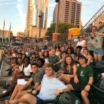 Levine Scholars and other University honors students enjoy a Charlotte Knights game.