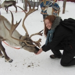 While abroad in Finland, Caitlin fed one of the many reindeer in Lapland