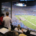 Mrs. Levine and Patric King overlooking the field at Bank of America Stadium