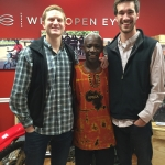 Tanner Parks (right) with colleagues in Kenya during his internship with Wide Open Eyes.